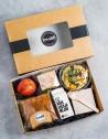 Focaccia lunh box: Focaccia de Pastrami con Mayones de mostaza, Ensalada de caviar de berenjena con fusilli, anacardo y cala...